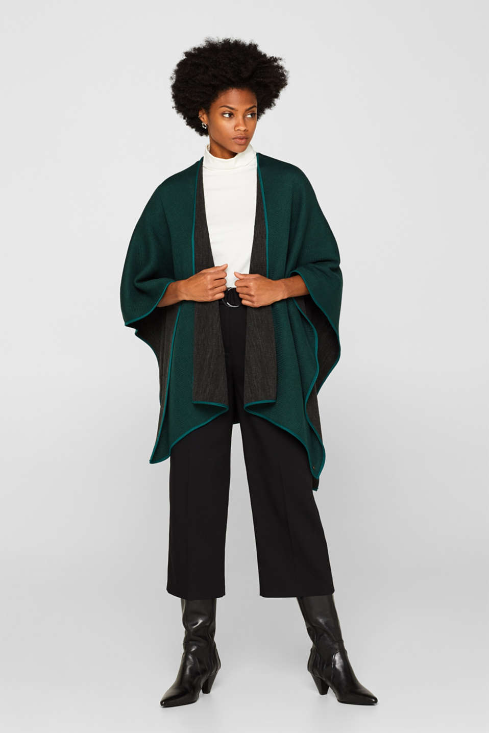 Reversible cape, DARK TEAL GREEN, detail image number 0