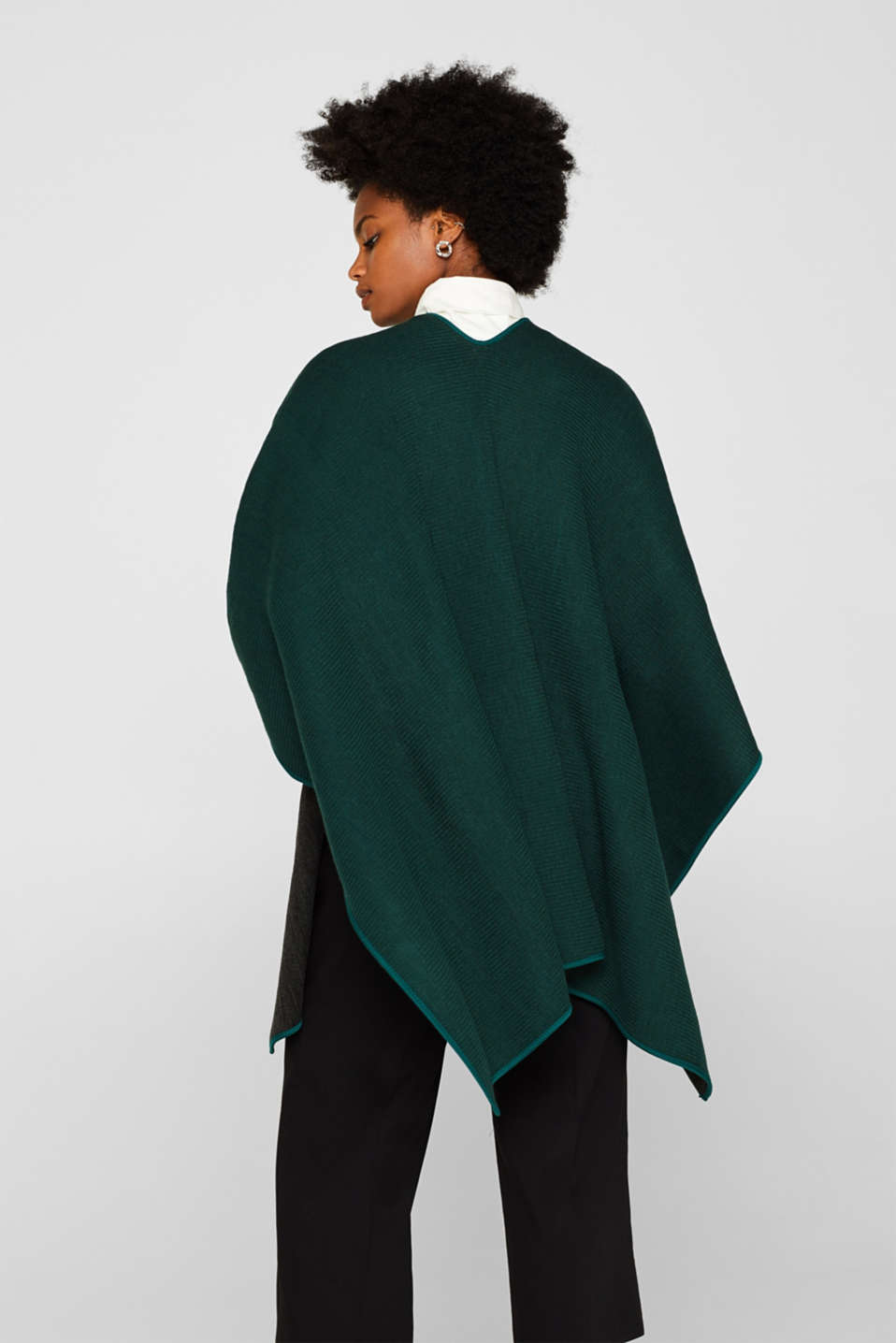 Reversible cape, DARK TEAL GREEN, detail image number 4