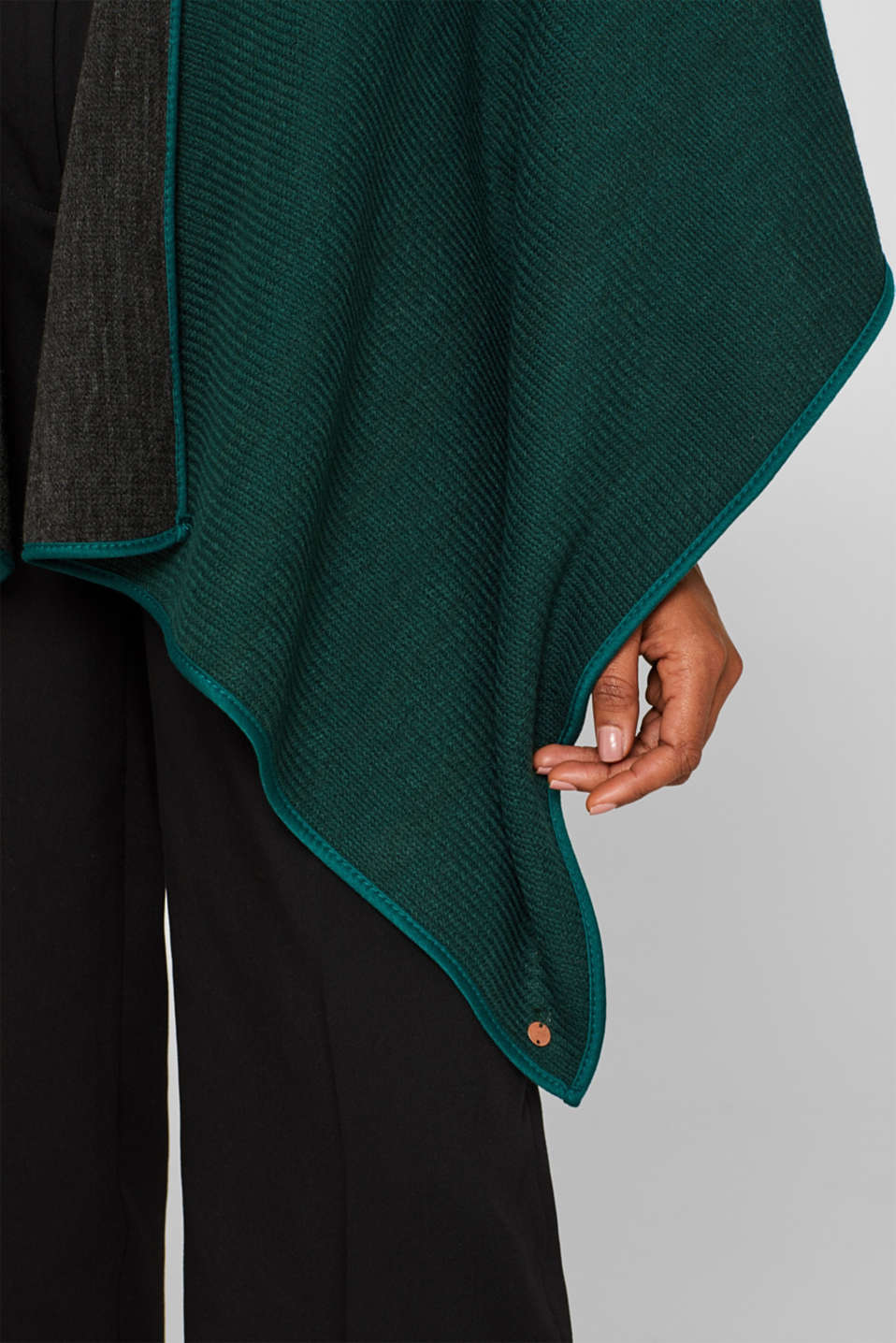 Reversible cape, DARK TEAL GREEN, detail image number 3