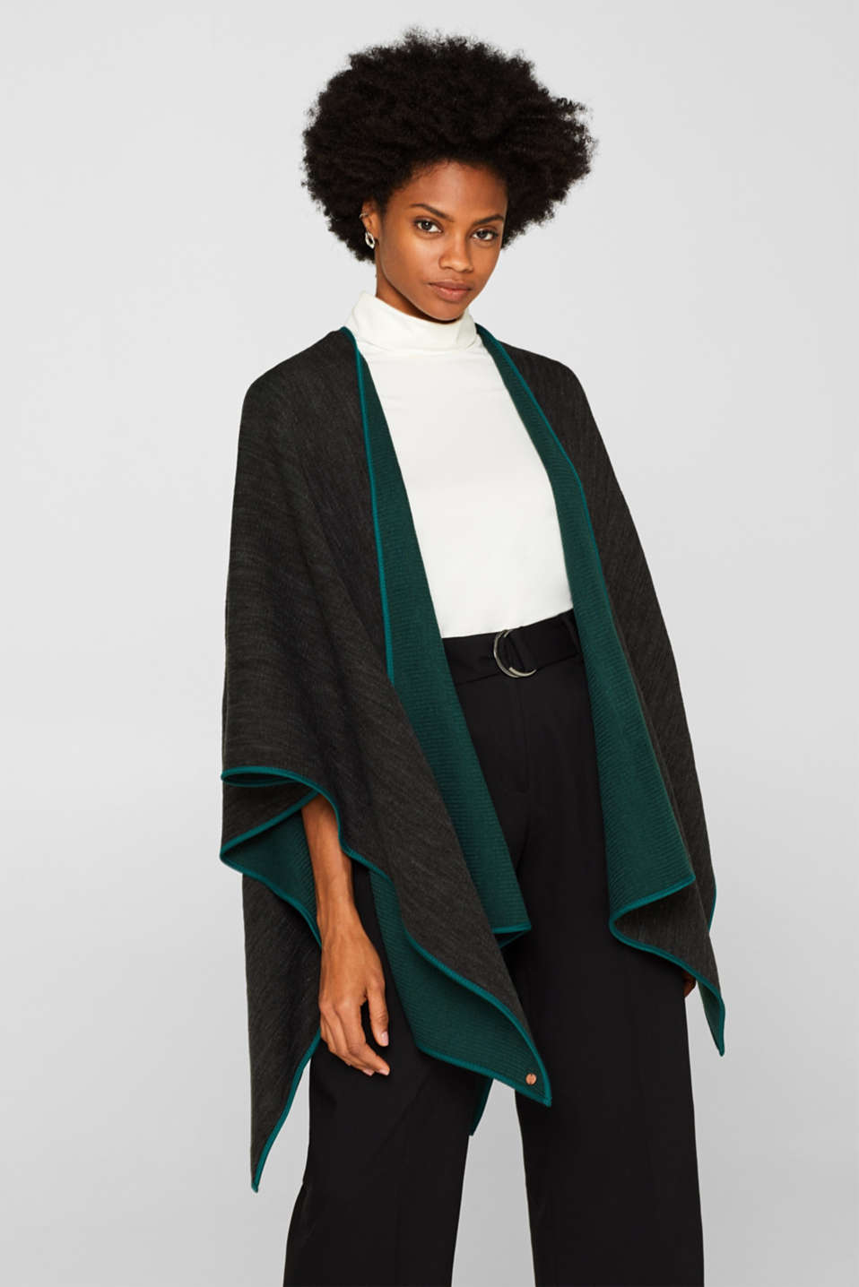 Reversible cape, DARK TEAL GREEN, detail image number 1