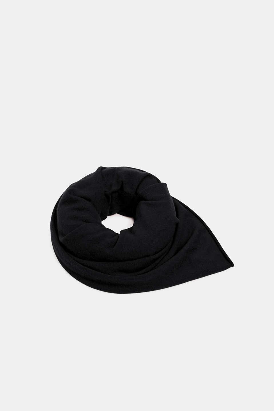 Cashmere/wool blend: fine-knit scarf, BLACK, detail image number 0