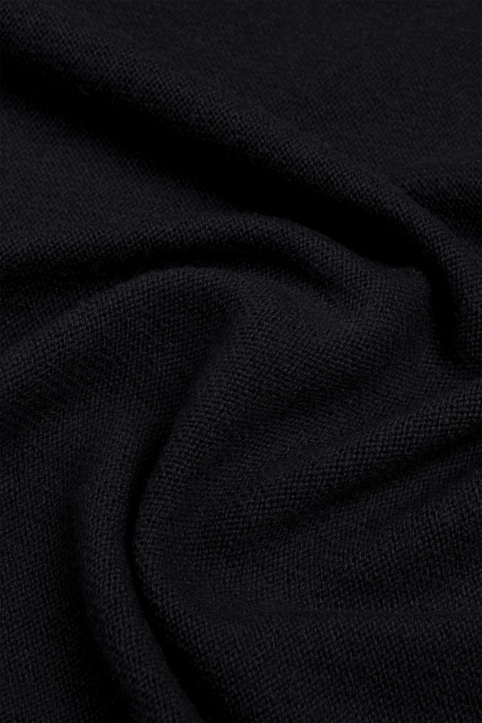 Cashmere/wool blend: fine-knit scarf, BLACK, detail image number 2