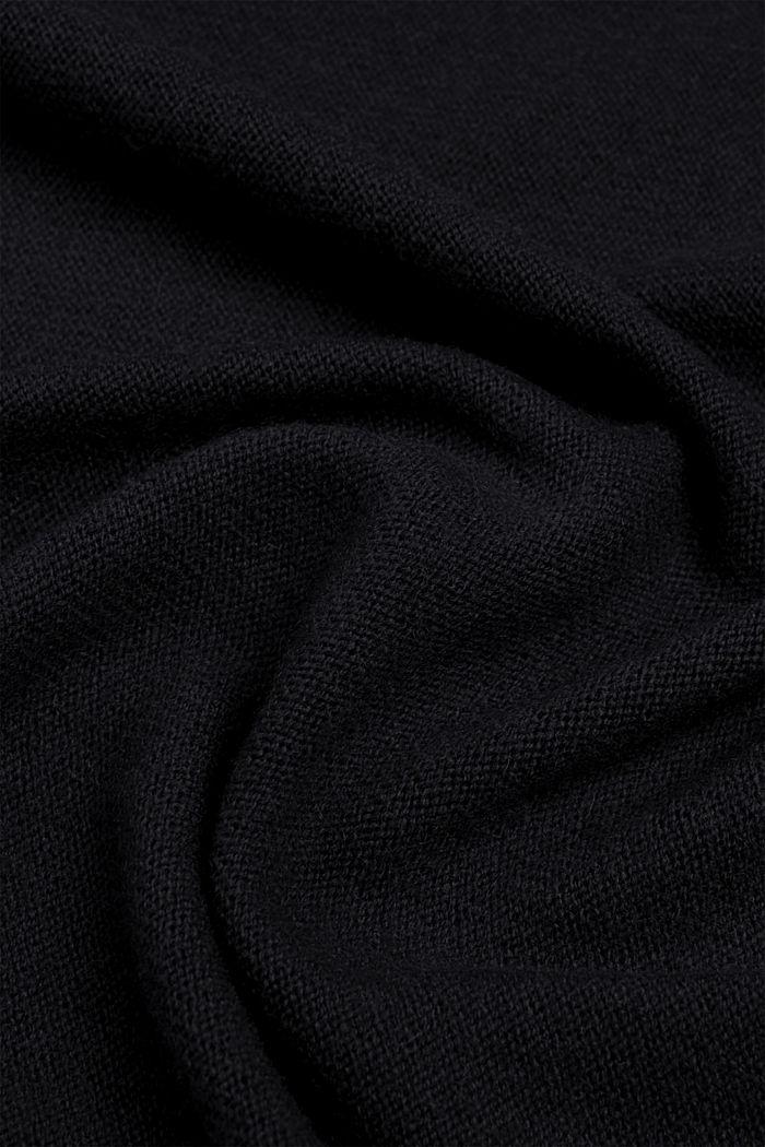 Mix van wol en kasjmier: fijngebreide sjaal, BLACK, detail image number 2