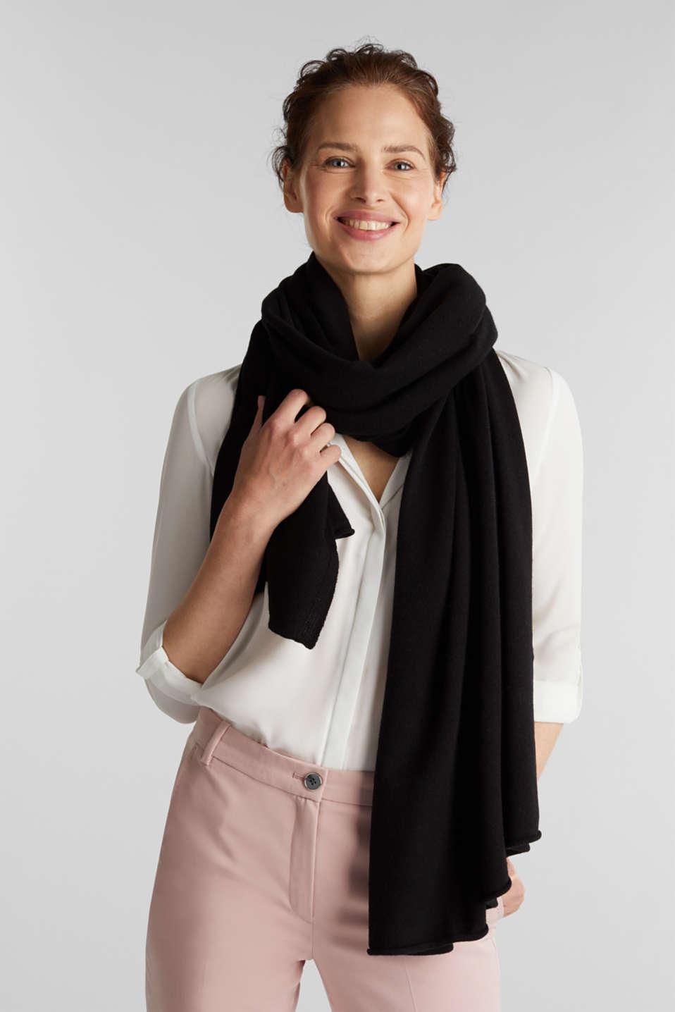 Cashmere/wool blend: fine-knit scarf, BLACK, detail image number 1