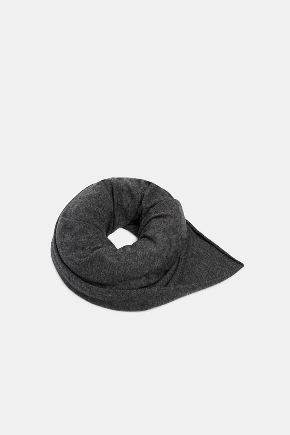 Cashmere/wool blend: fine-knit scarf, DARK GREY, detail image number 0