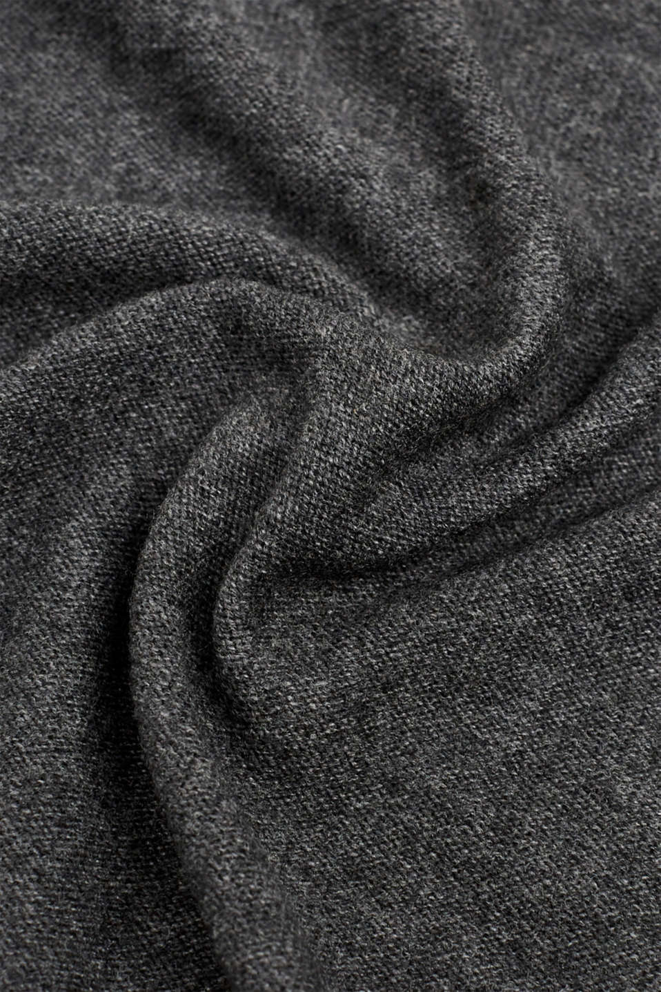 Cashmere/wool blend: fine-knit scarf, DARK GREY, detail image number 2