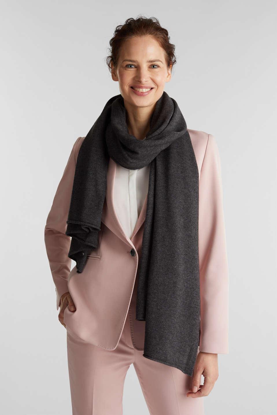 Cashmere/wool blend: fine-knit scarf, DARK GREY, detail image number 1