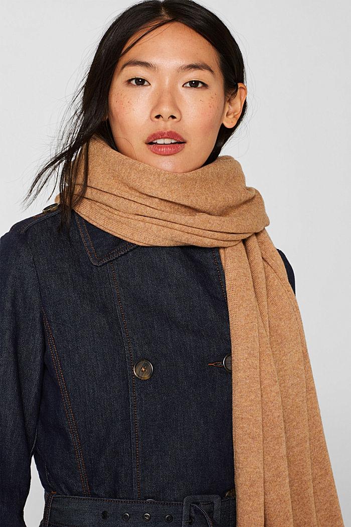 Cashmere/wool blend: fine-knit scarf, CAMEL, detail image number 1