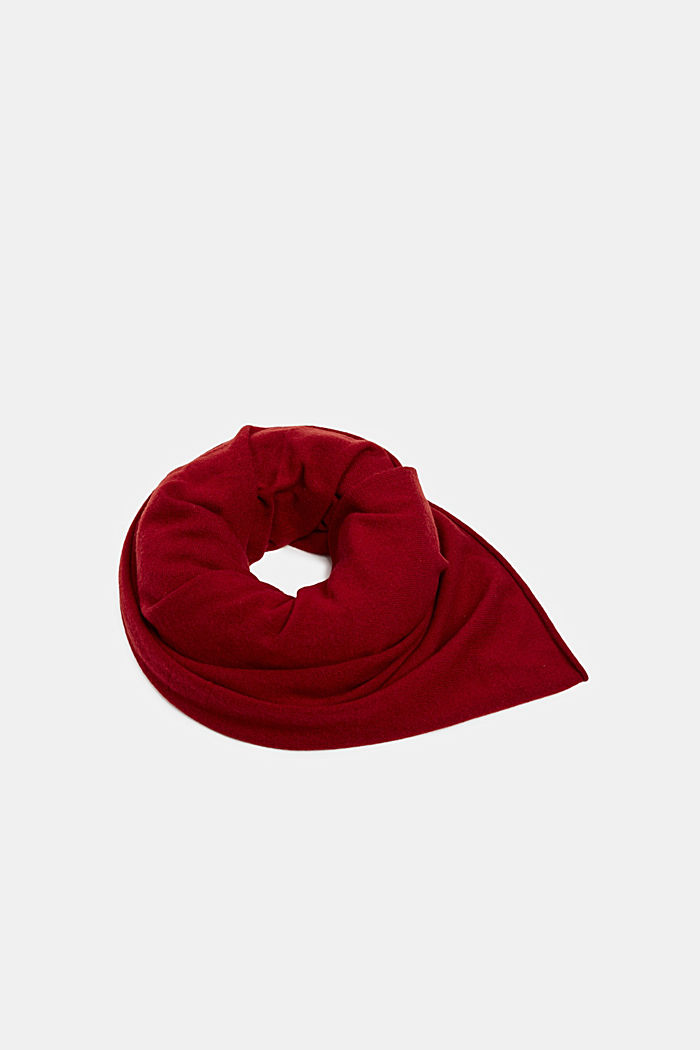 Cashmere/wool blend: fine-knit scarf, RED, detail image number 0