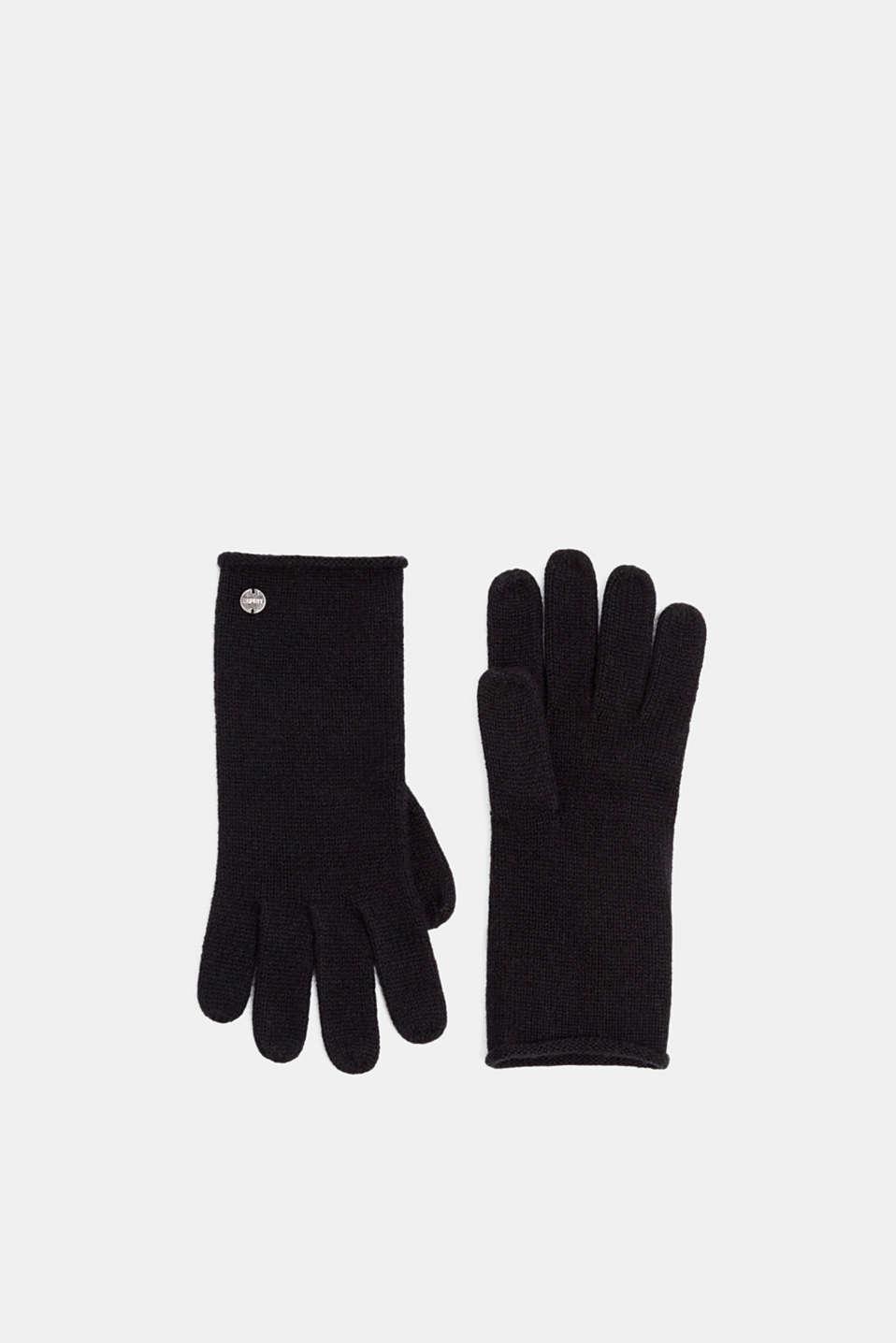 Knit gloves in a cashmere/wool blend, BLACK, detail image number 0