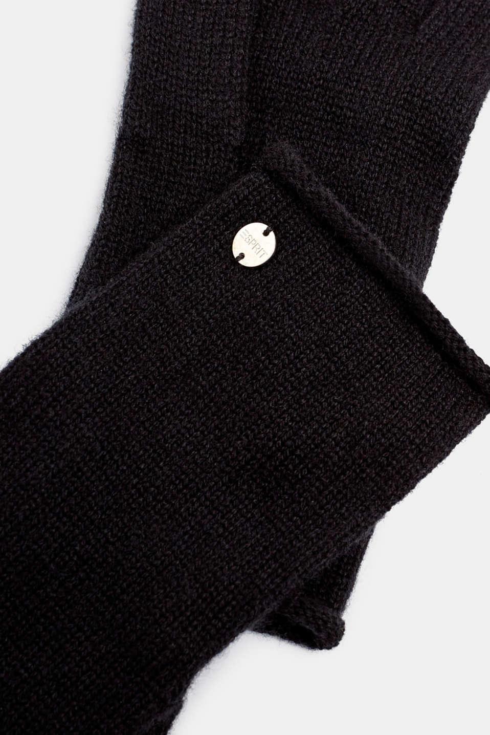 Knit gloves in a cashmere/wool blend, BLACK, detail image number 1