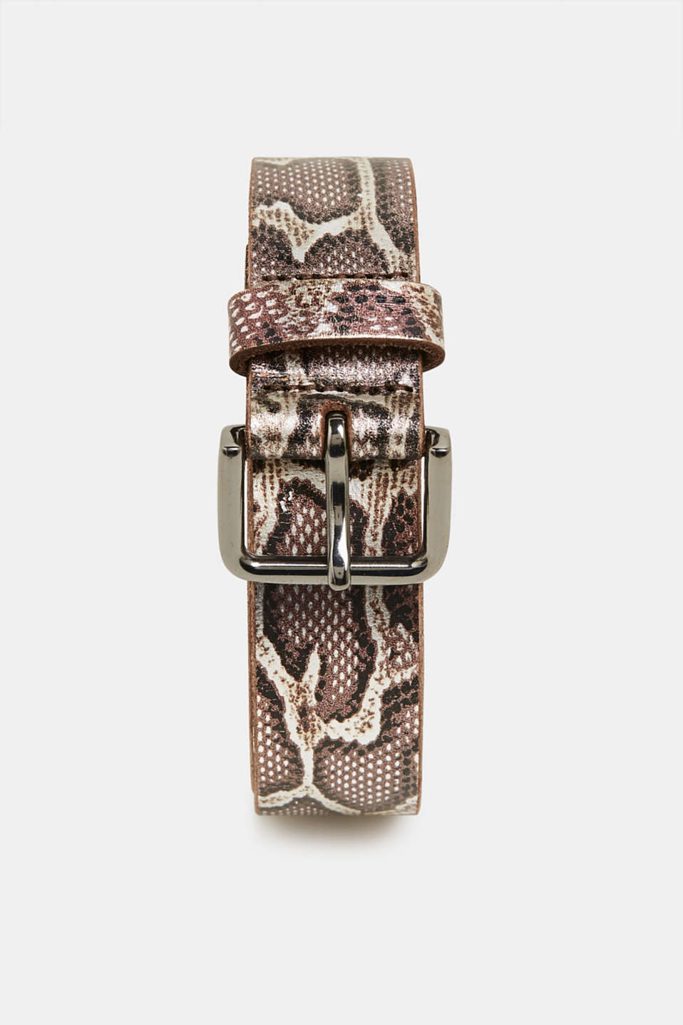 Snake print belt, made of leather, BROWN, detail image number 0