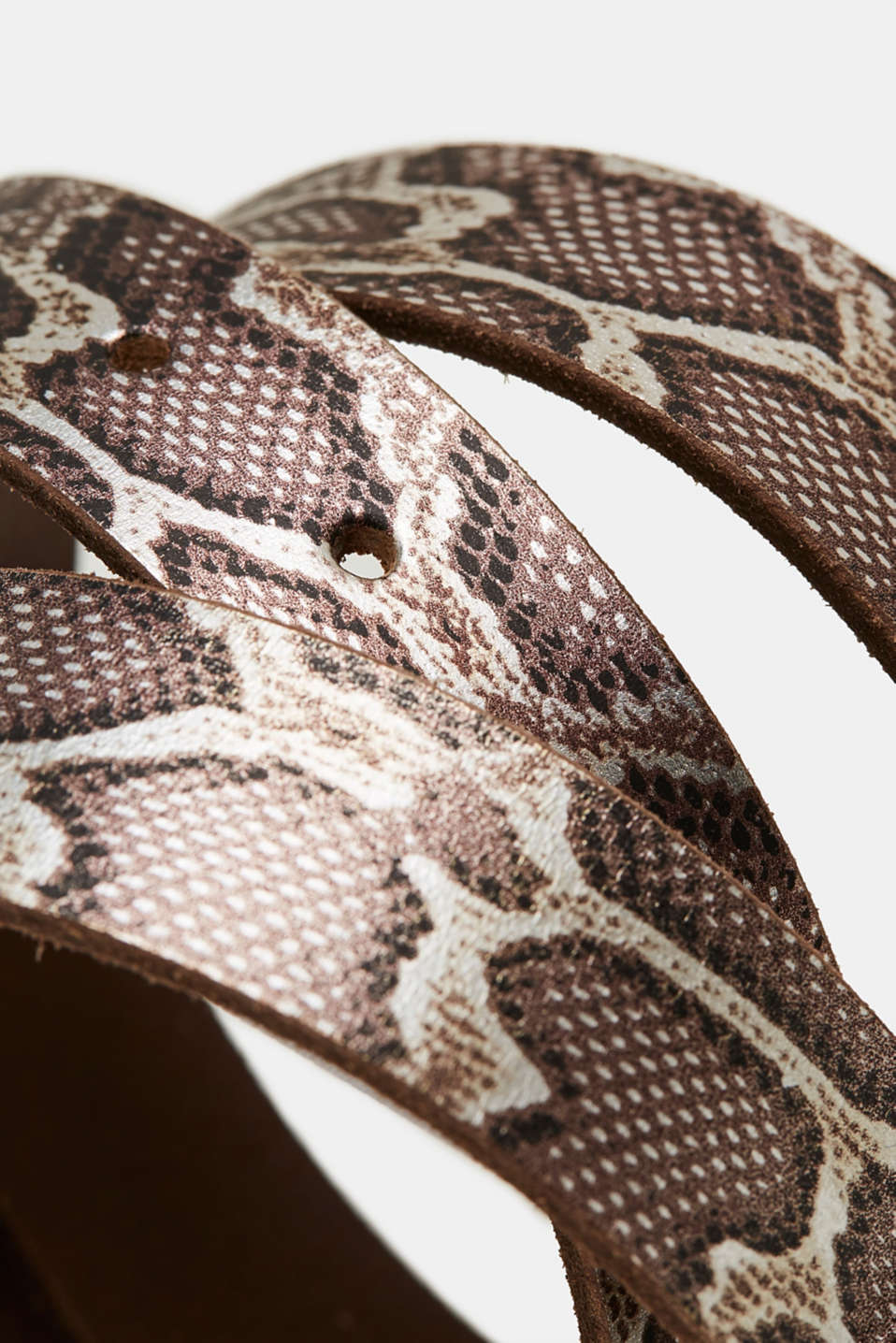 Snake print belt, made of leather, BROWN, detail image number 1
