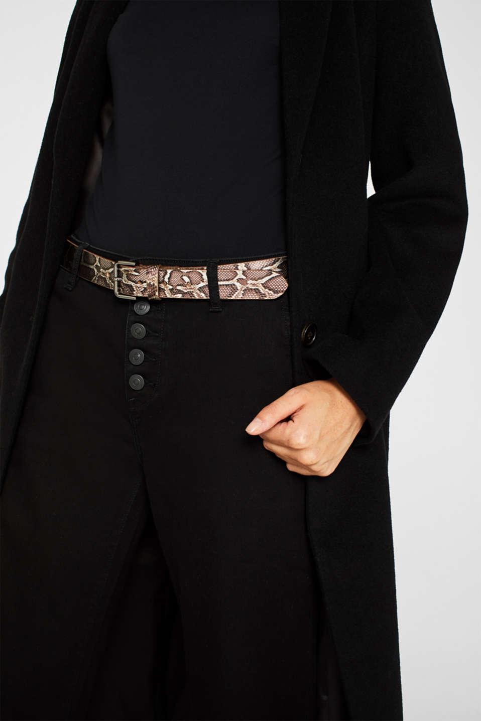 Snake print belt, made of leather, BROWN, detail image number 2