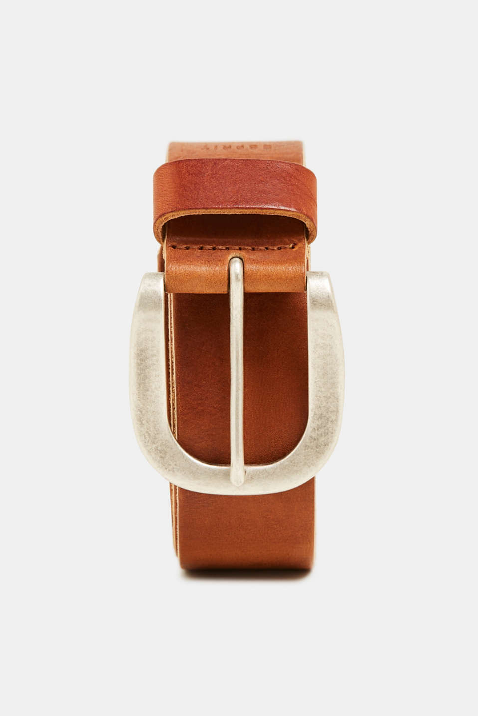 Belt with a vintage finish, in leather, TOFFEE, detail image number 0