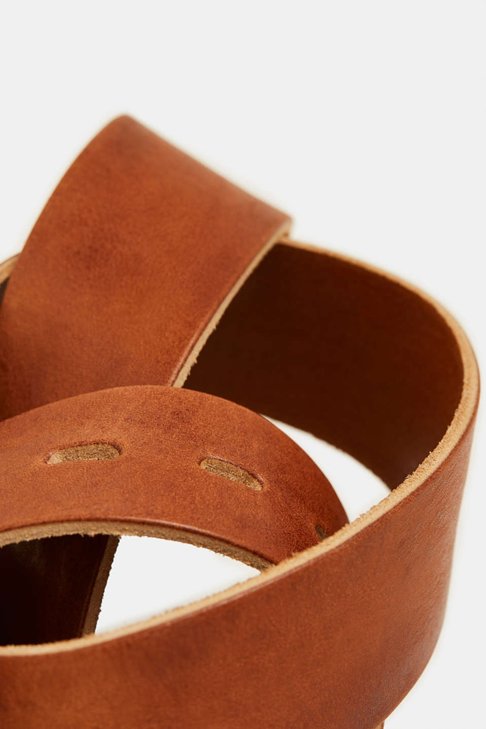 Belt with a vintage finish, in leather, TOFFEE, detail image number 1