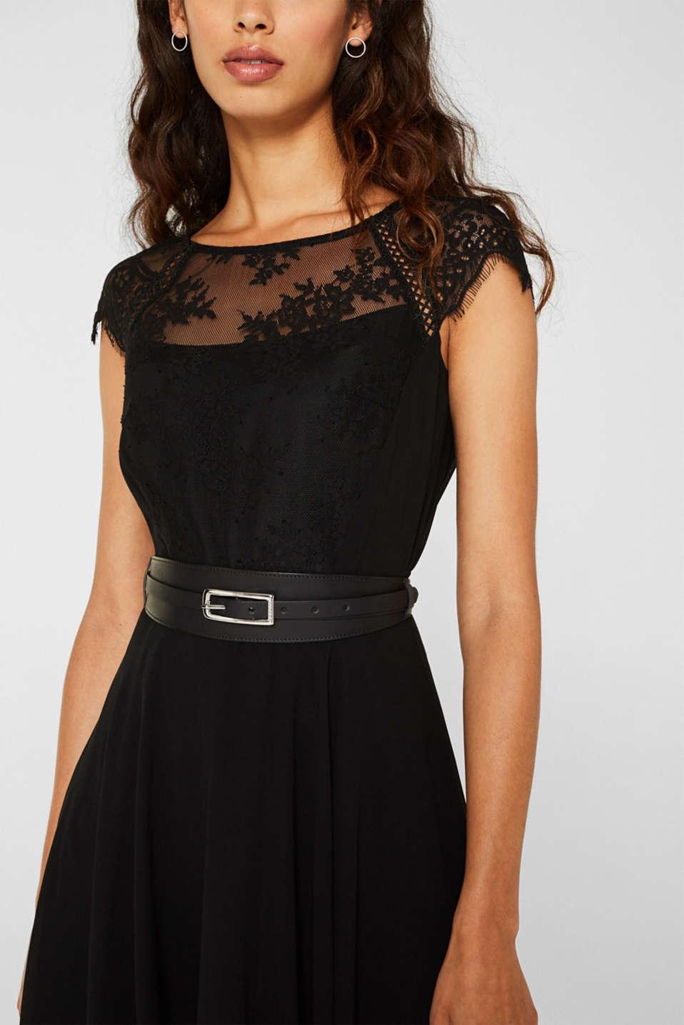 Leather waist belt, BLACK, detail image number 2