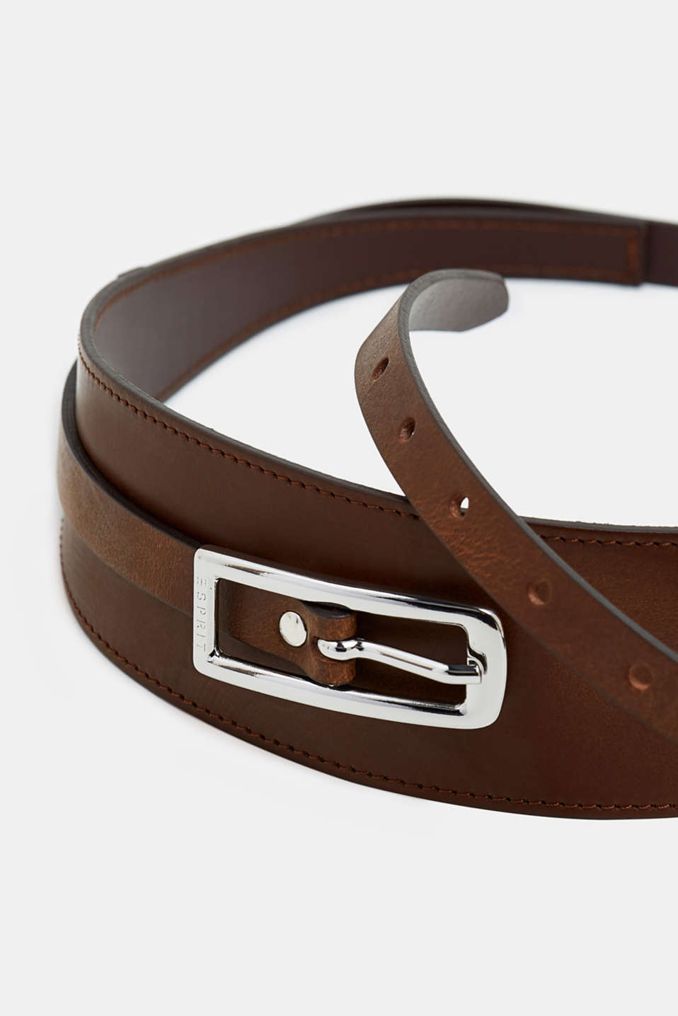 Leather waist belt, RUST BROWN, detail image number 1