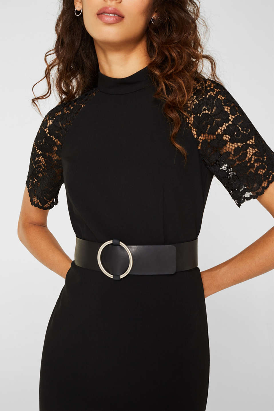 Wide leather waist belt, BLACK, detail image number 2