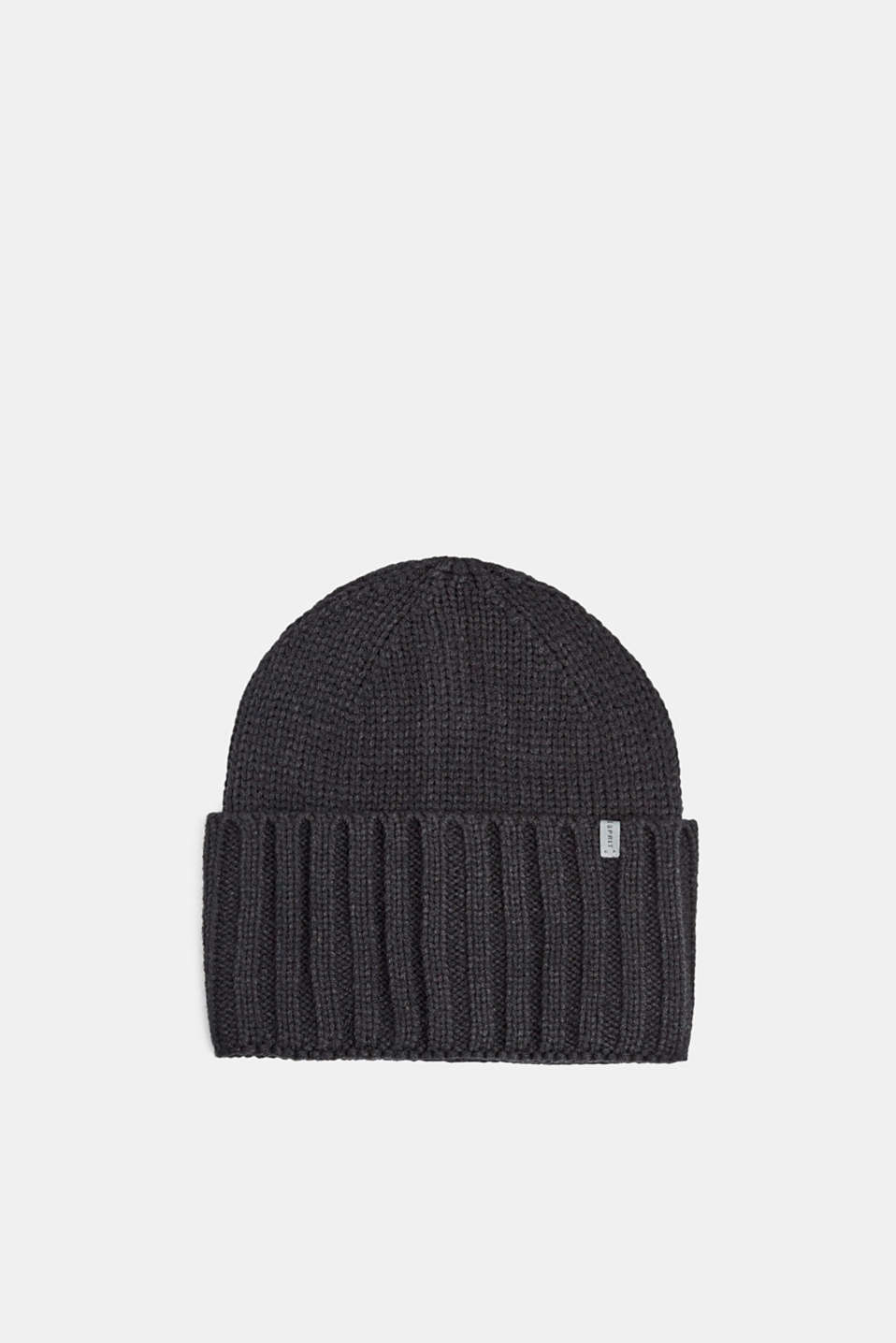 Hat with a wide, ribbed turn-up, BLACK, detail image number 0