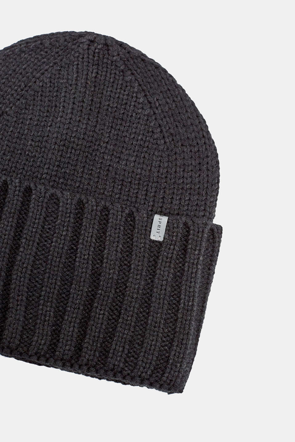 Hat with a wide, ribbed turn-up, BLACK, detail image number 1