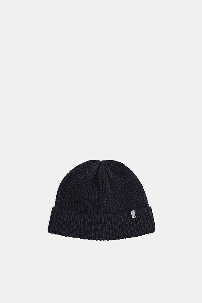 100% laine mérinos: le bonnet à la texture côtelée, NAVY, detail image number 0
