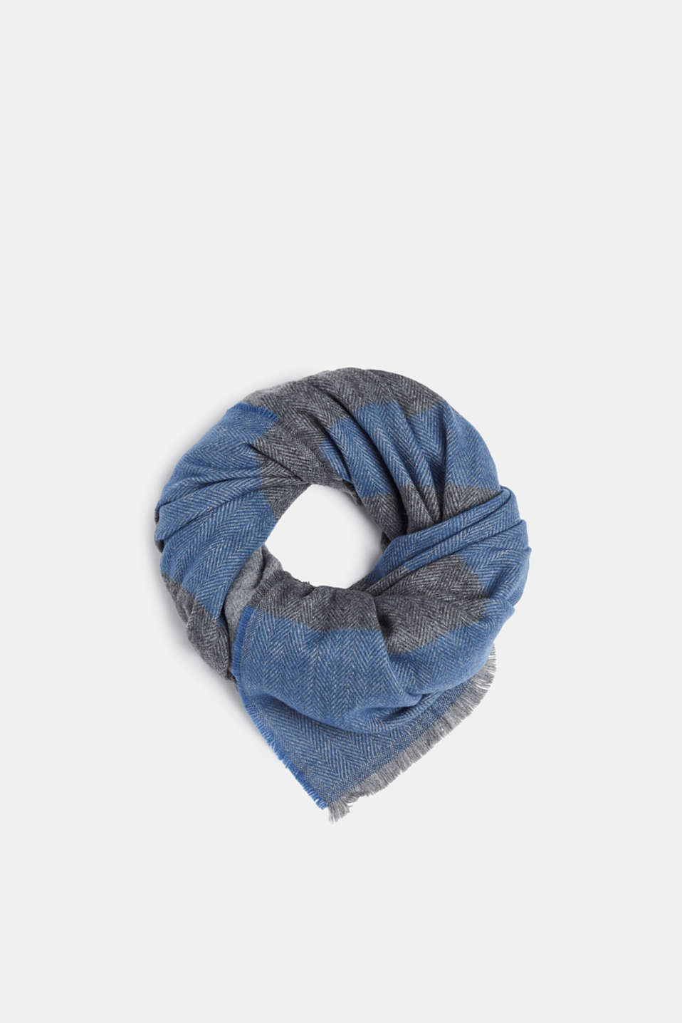 Woven scarf with stripes, GREY BLUE, detail image number 0