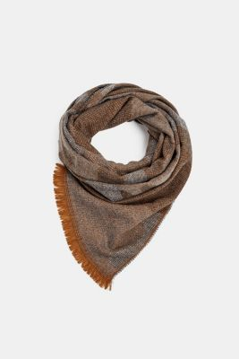 Woven scarf with a camouflage texture, GREY, detail