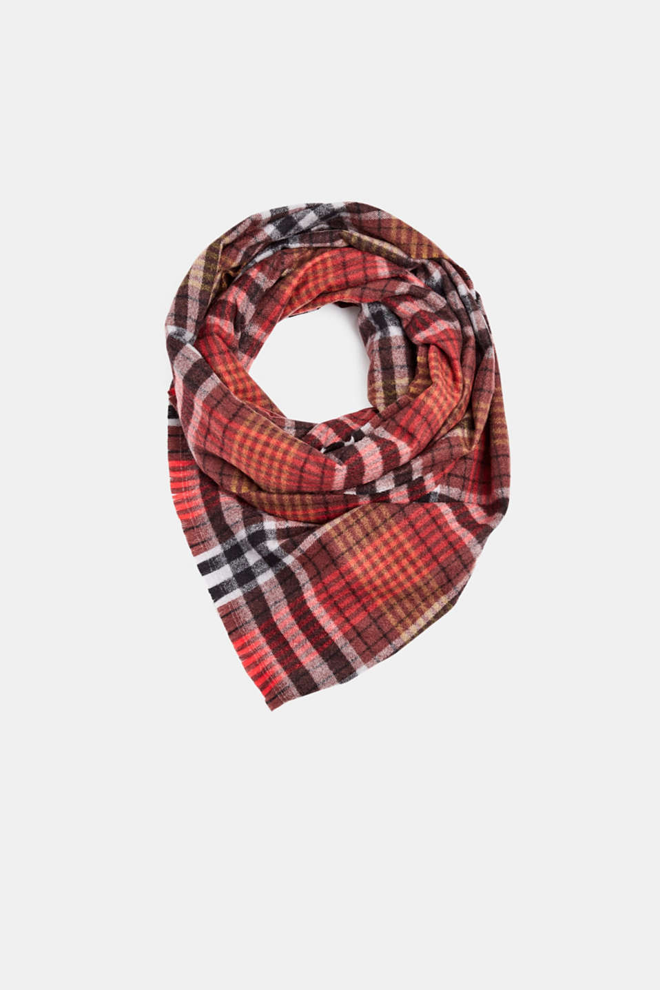 Check scarf, RED, detail image number 0