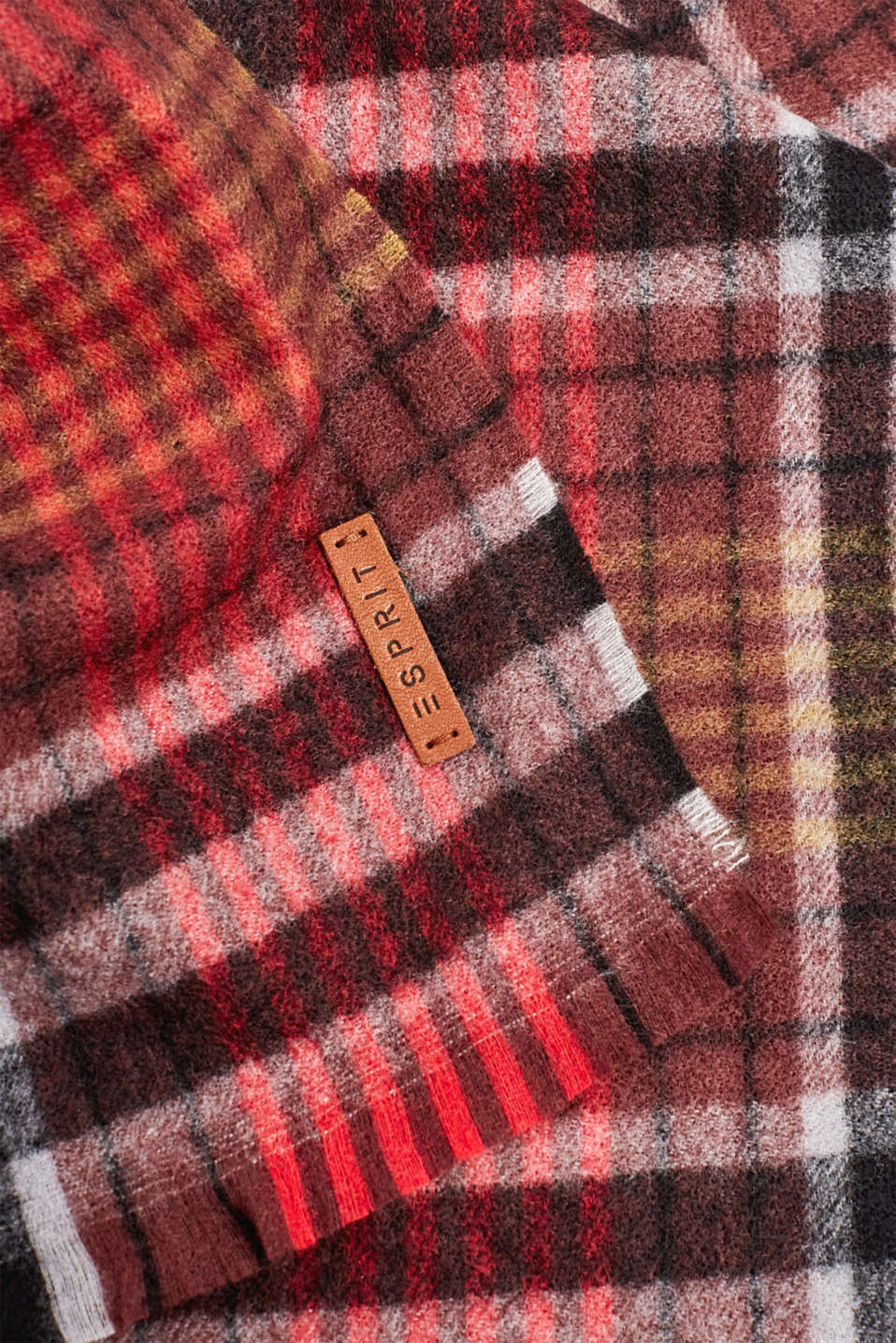 Check scarf, RED, detail image number 2