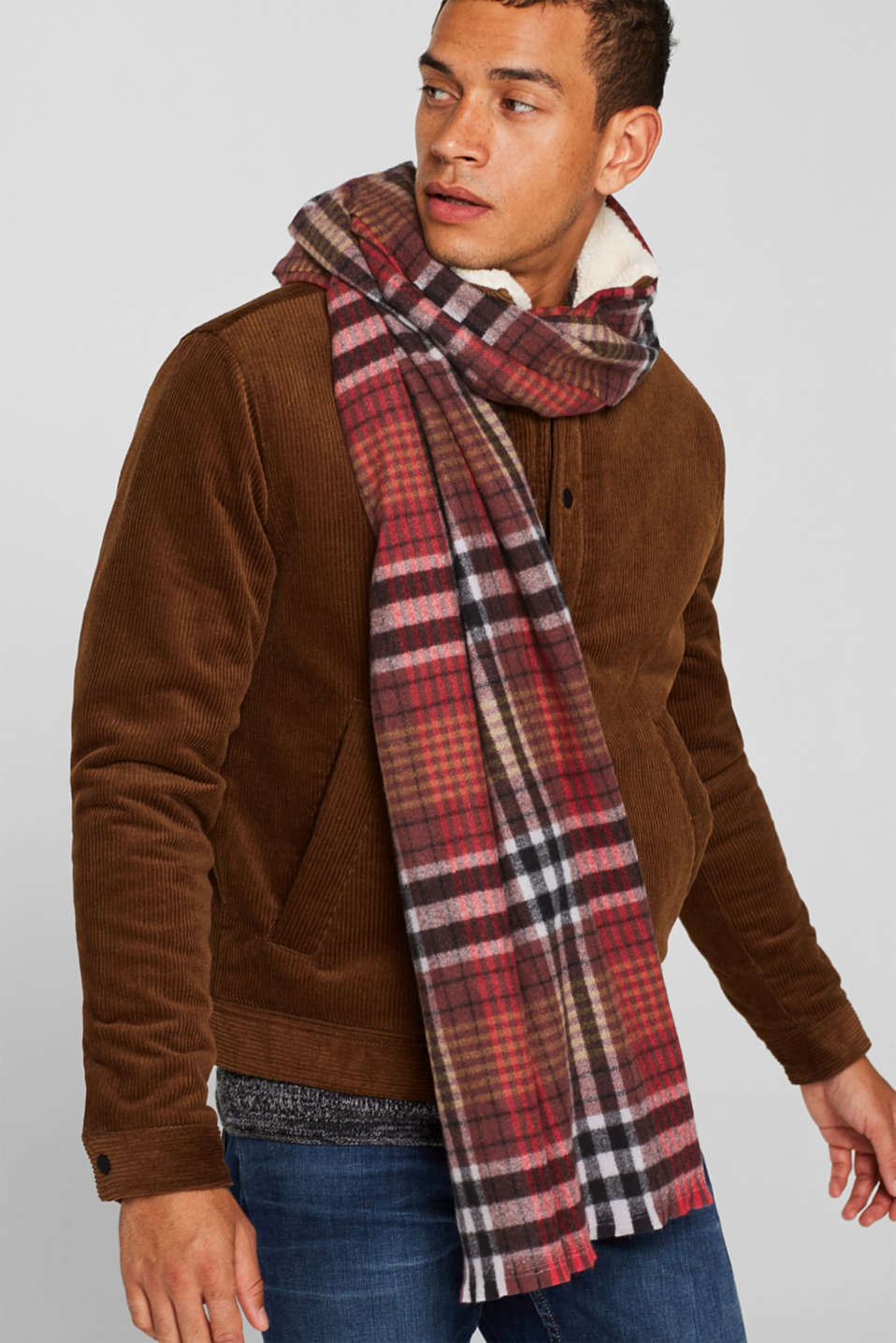 Check scarf, RED, detail image number 1