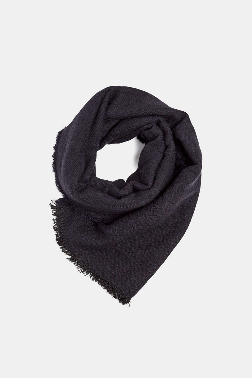 With wool: Scarf made of a two-tone fabric, NAVY, detail image number 0