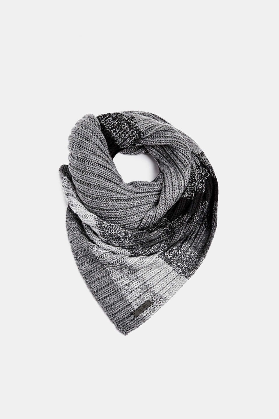 With wool: scarf with stripes, DARK GREY, detail image number 0