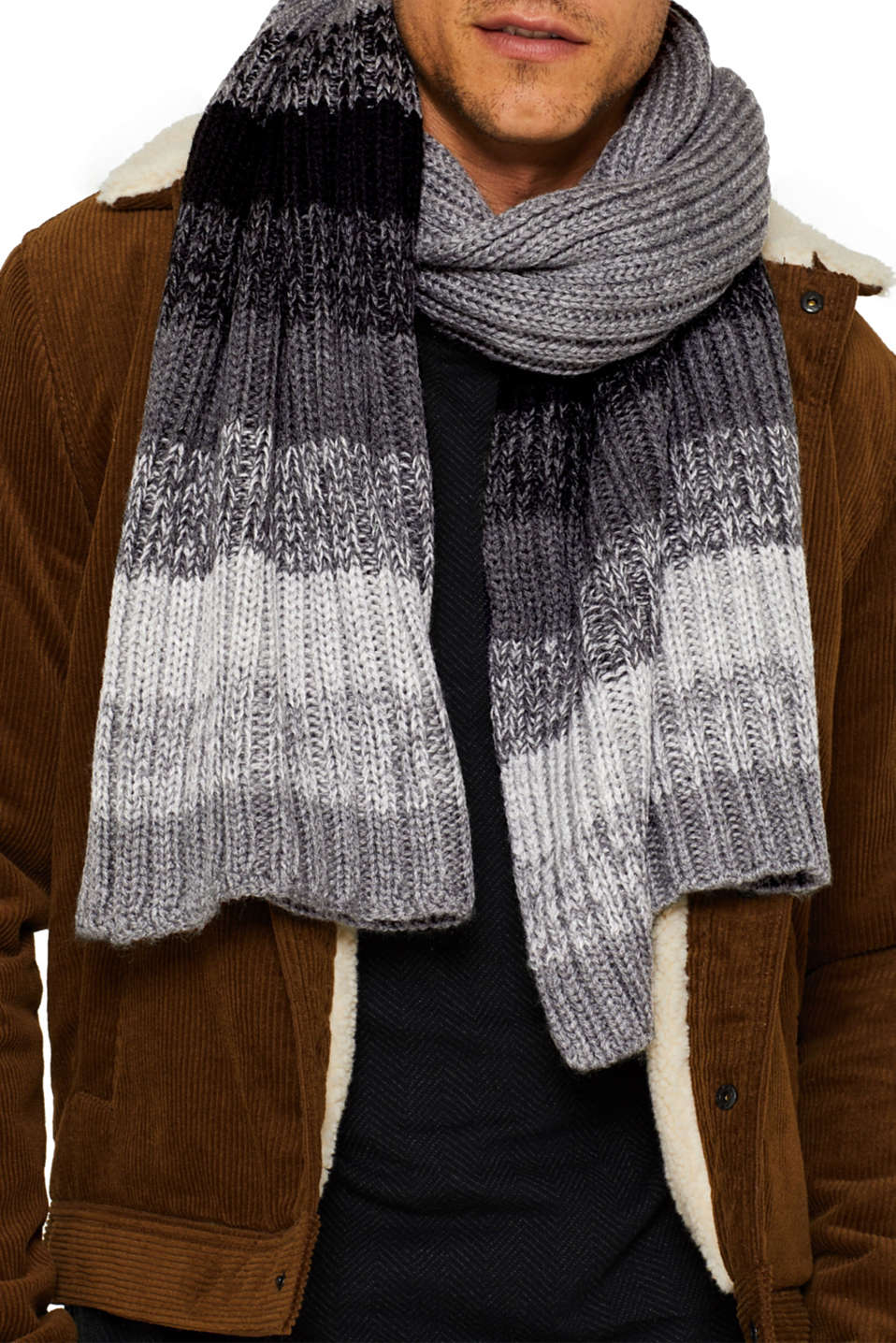 With wool: scarf with stripes, DARK GREY, detail image number 1