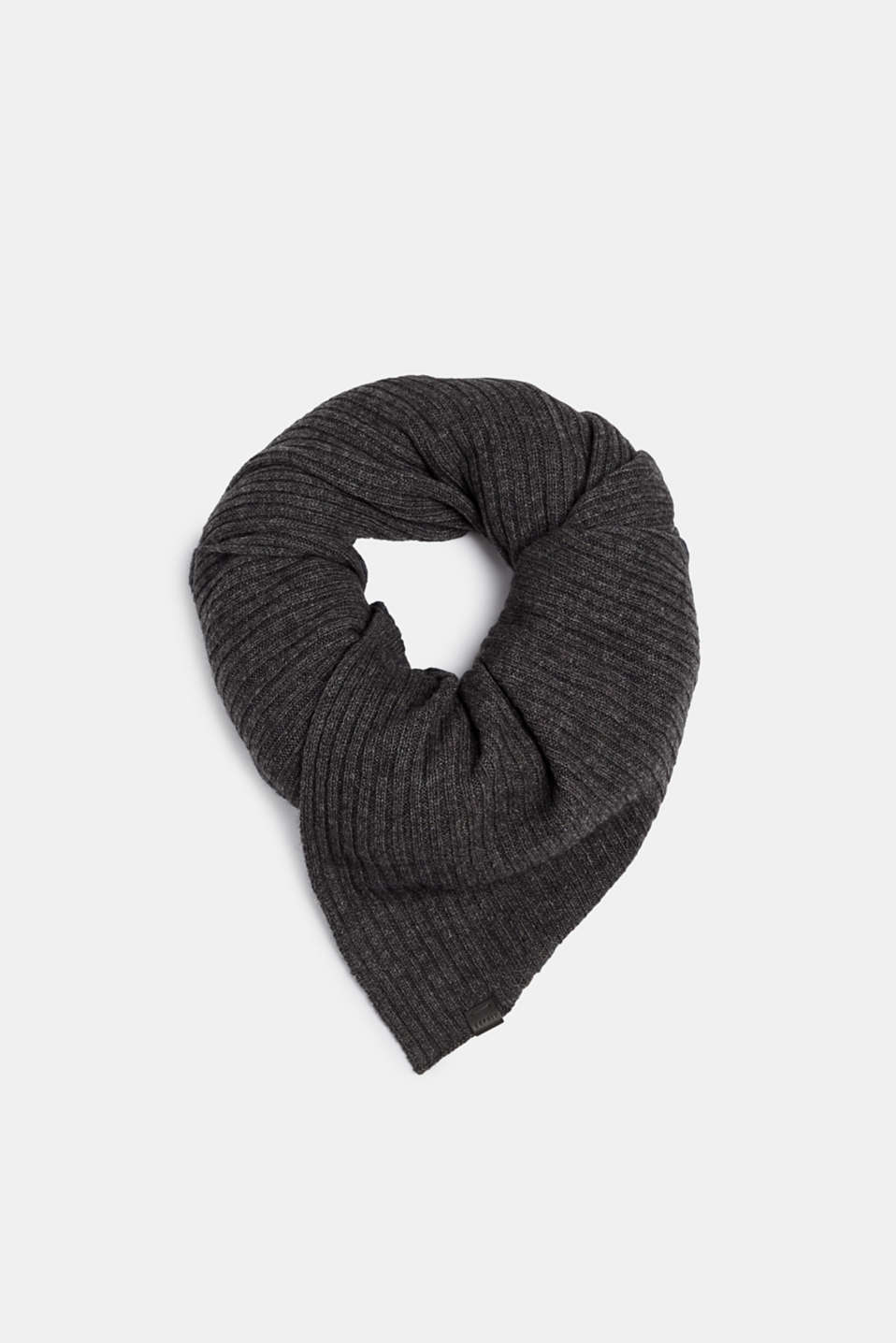 Knit scarf with cashmere, DARK GREY, detail image number 0