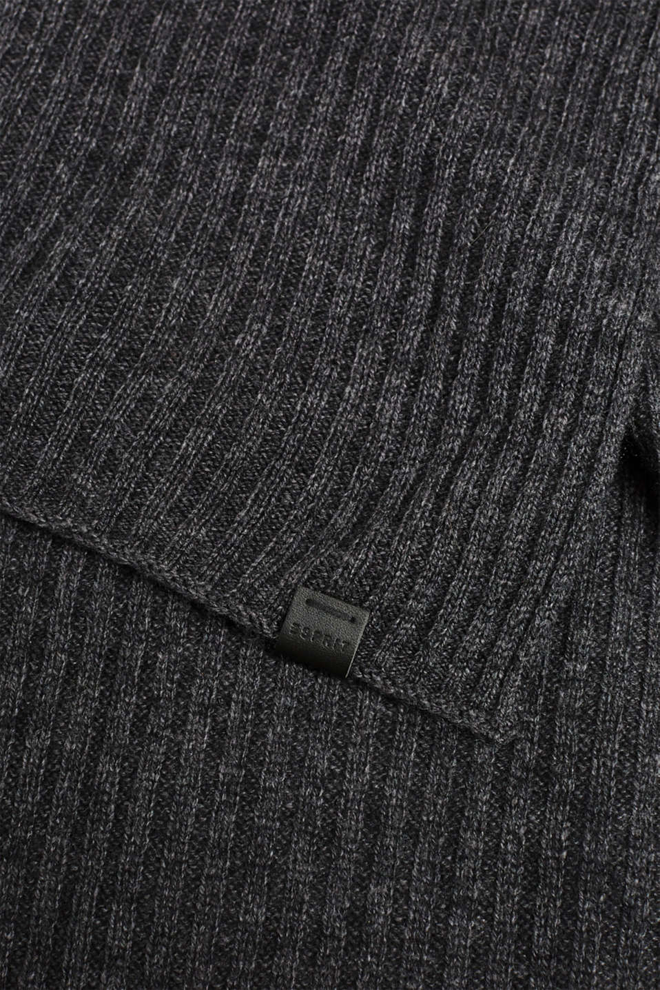Knit scarf with cashmere, DARK GREY, detail image number 2