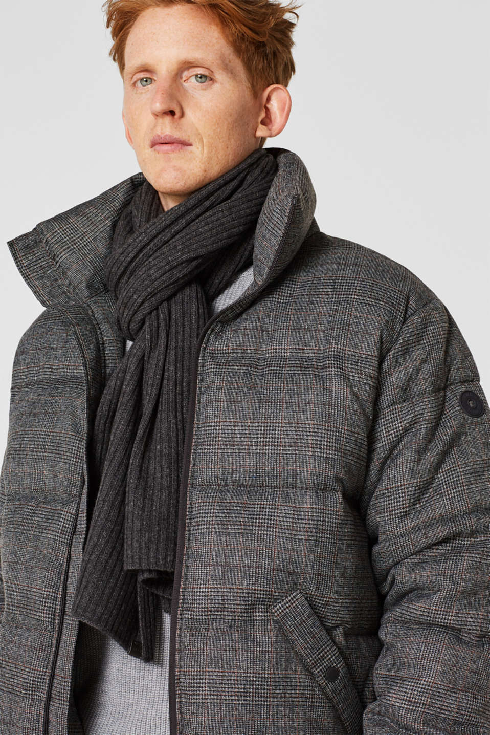 Knit scarf with cashmere, DARK GREY, detail image number 1