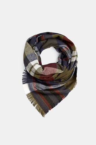 Woven scarf with checks