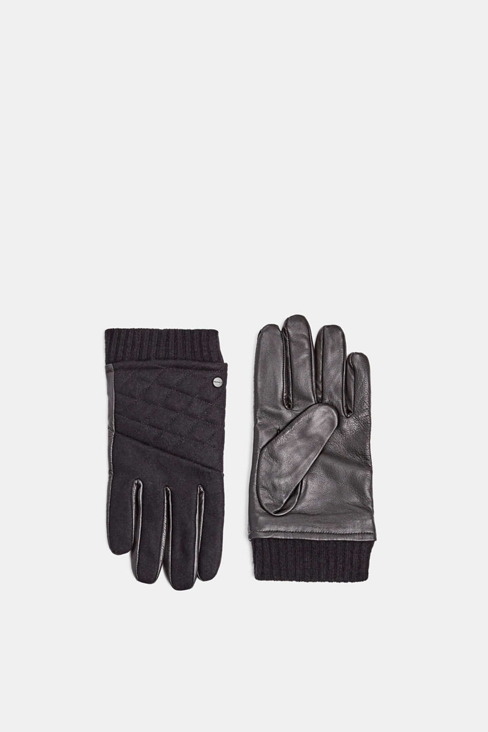 Gloves leather, BLACK, detail image number 0