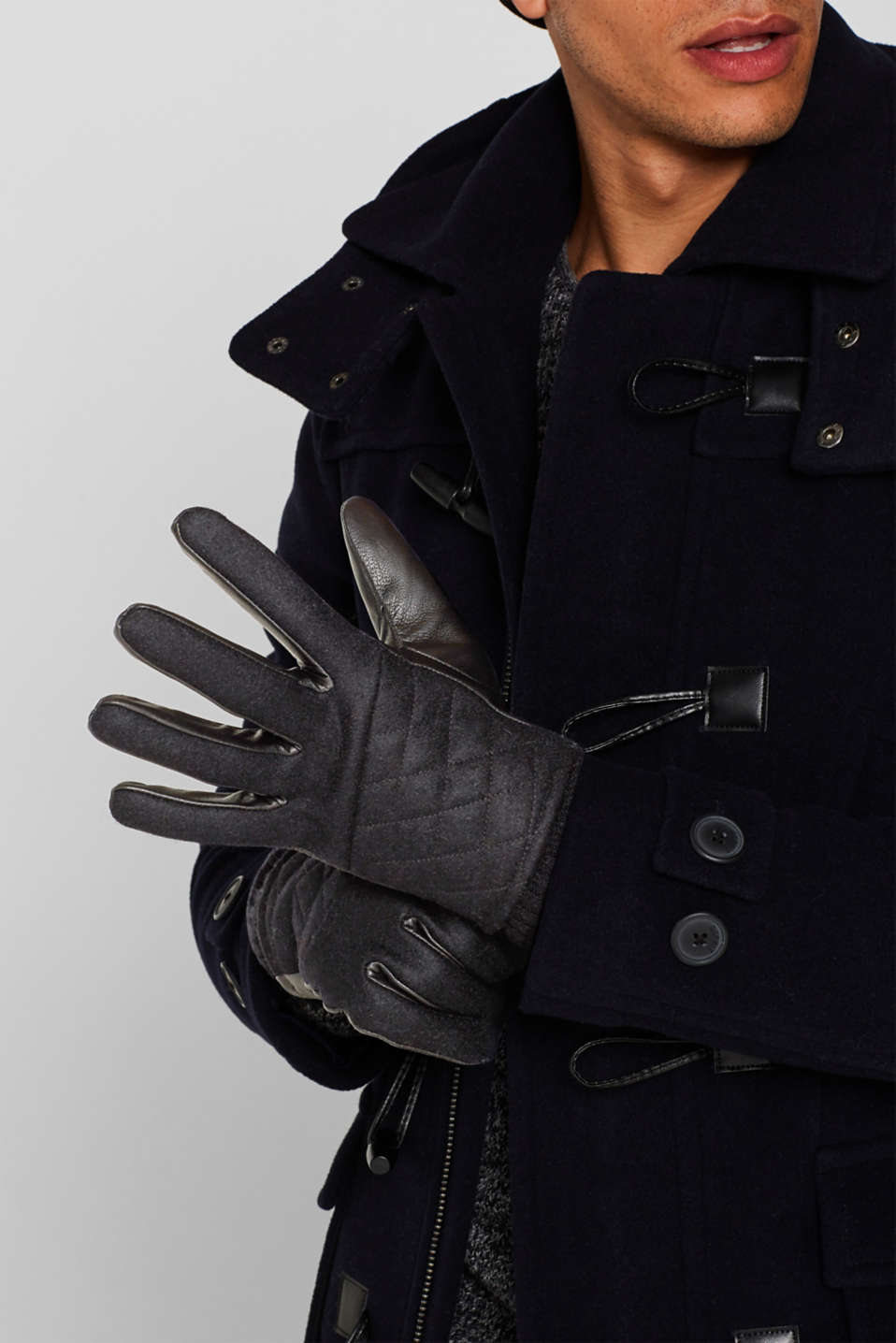 Gloves leather, BLACK, detail image number 2