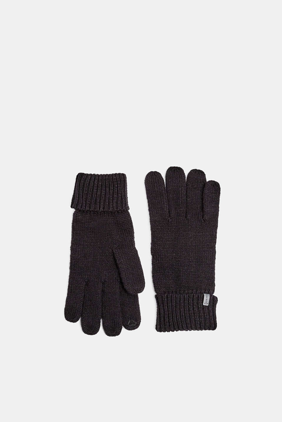 With wool: knit gloves, BLACK, detail image number 0