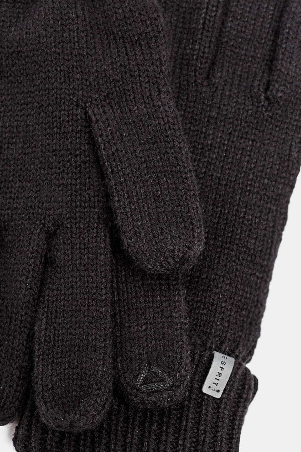 With wool: knit gloves, BLACK, detail image number 1