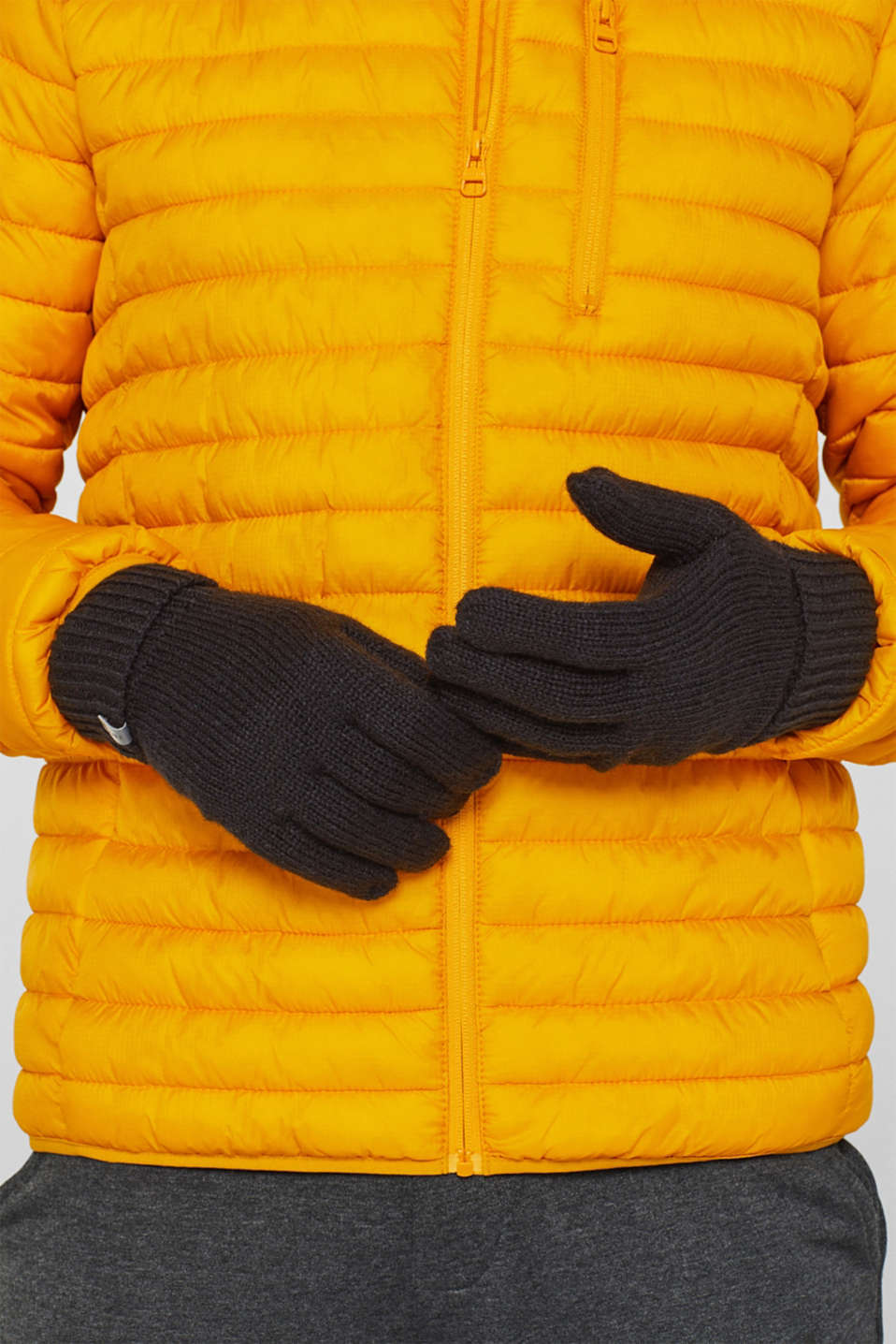 With wool: knit gloves, BLACK, detail image number 2