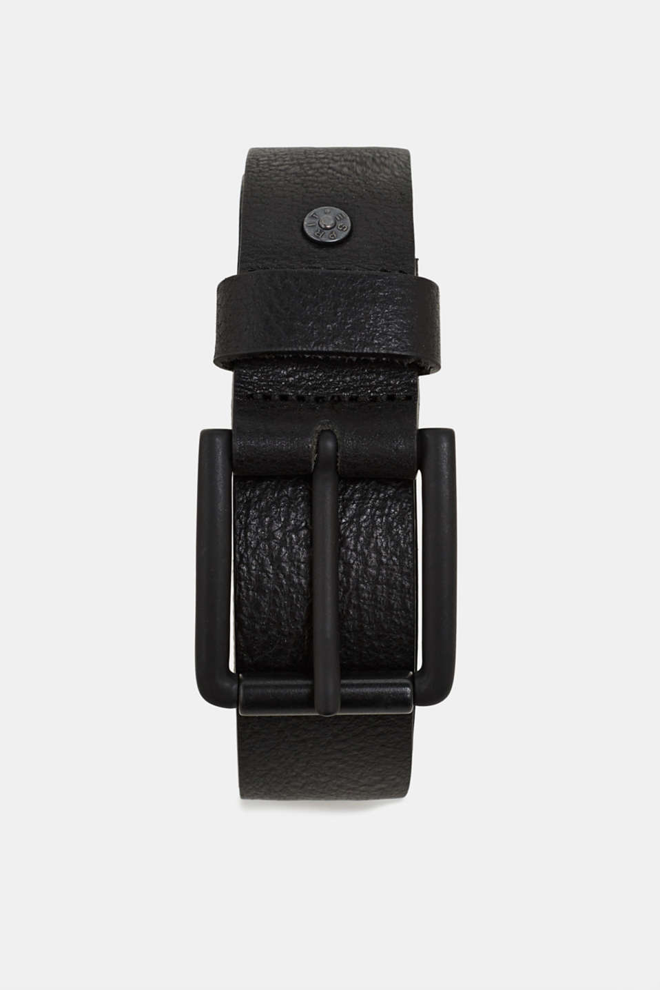 Belt with gunmetal buckle, made of leather, BLACK, detail image number 0