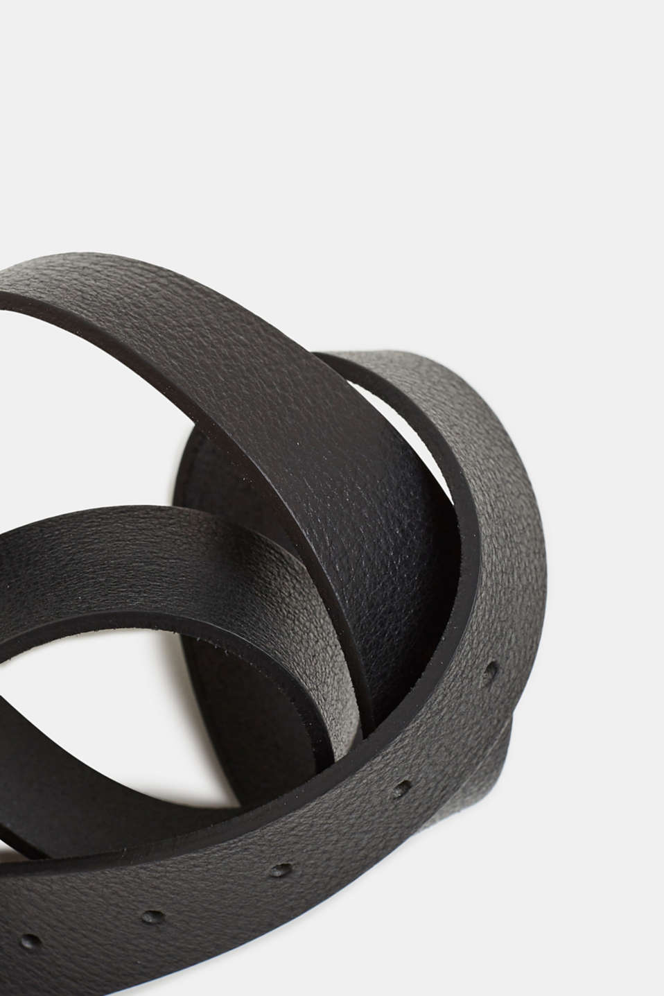 Belt with gunmetal buckle, made of leather, BLACK, detail image number 1