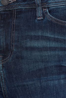 Stretch jeans with worn effects, BLUE DARK WASH, detail
