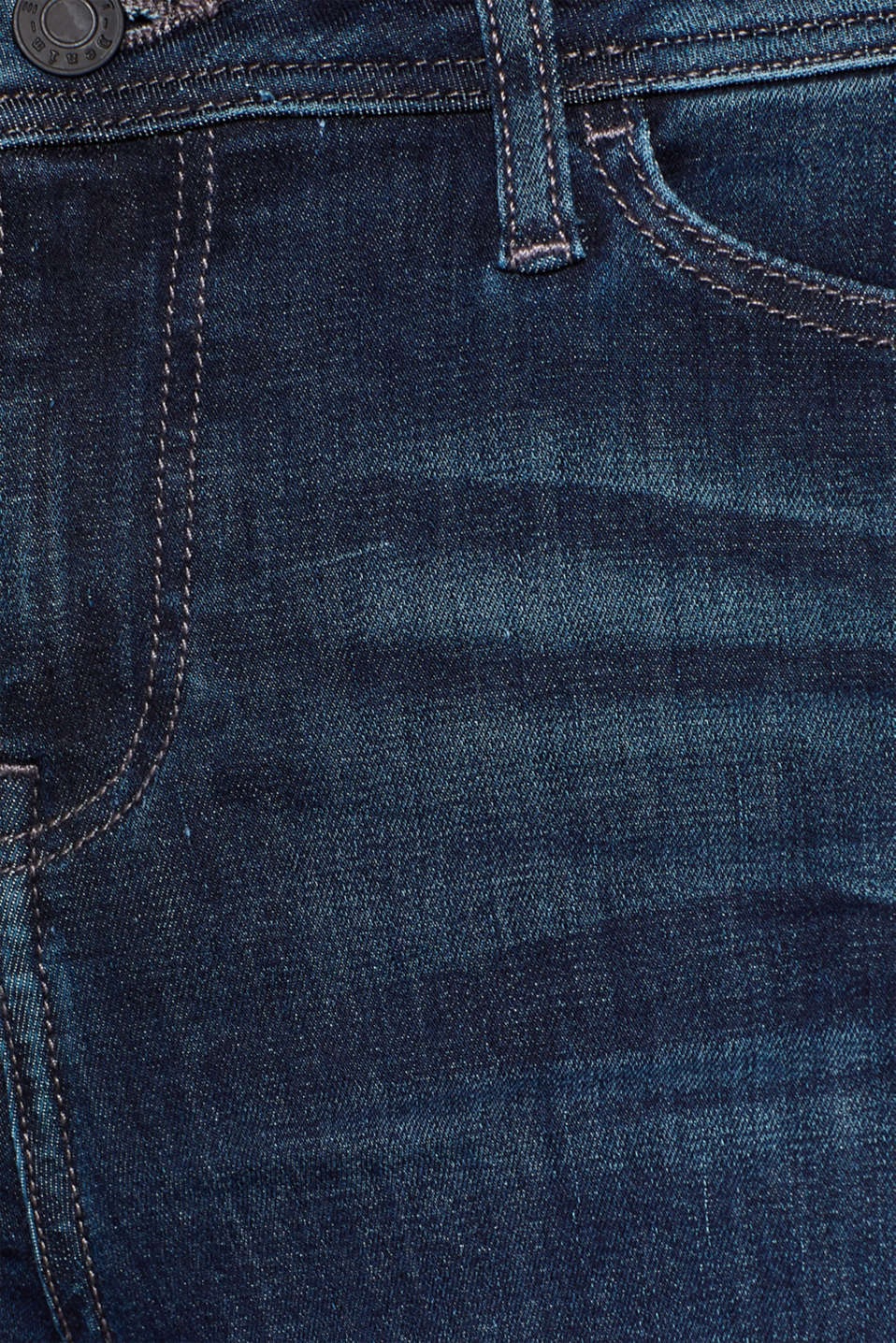 Stretch jeans with worn effects, BLUE DARK WASH, detail image number 4
