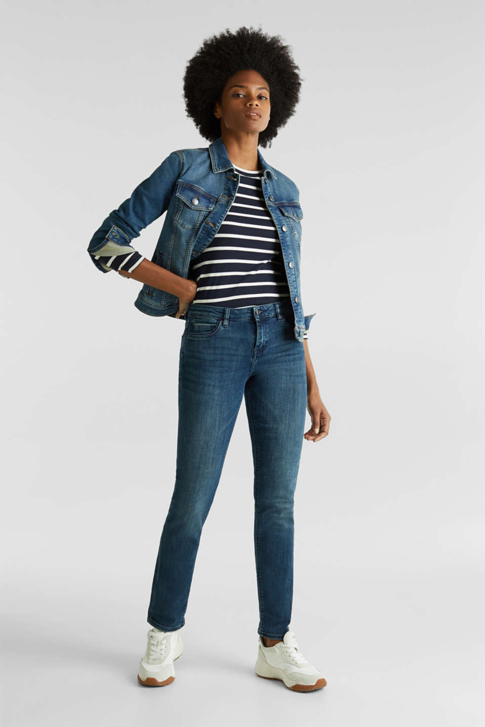 Stretch jeans with decorative piping, BLUE MEDIUM WASH, detail image number 1