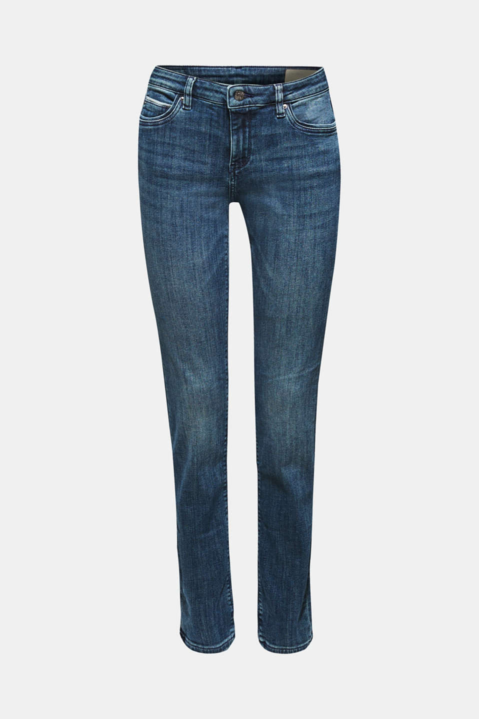 Stretch jeans with decorative piping, BLUE MEDIUM WASH, detail image number 7