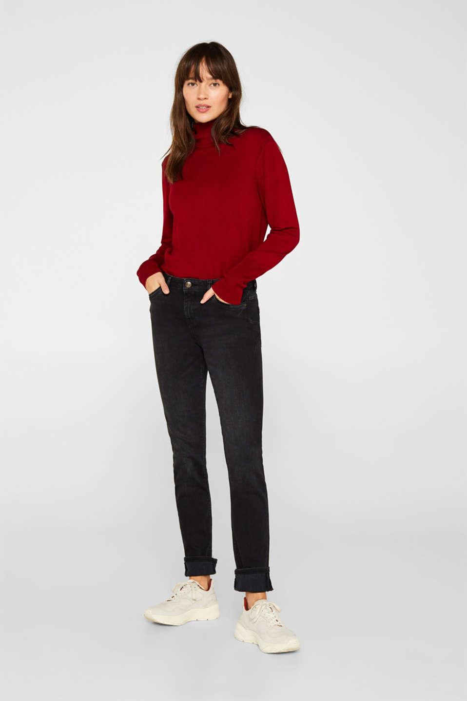 Esprit - Super stretch jeans with piping